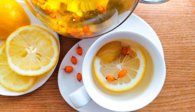 Чай с лимоном имбирем и облепихой