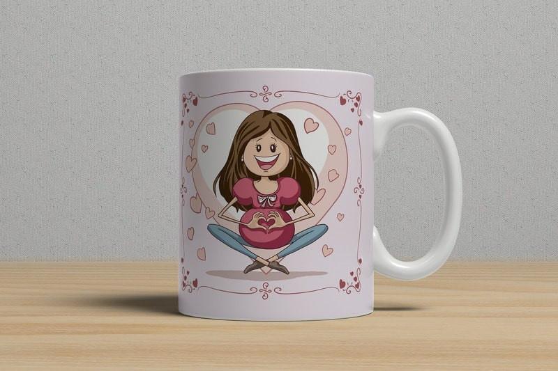 кружка с веселым рисунком беременной женщины