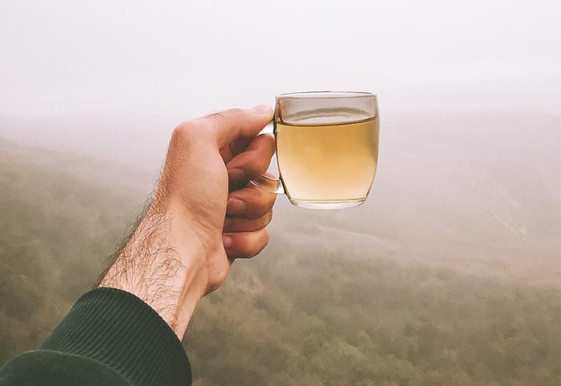 Рука кружка чая пейзаж